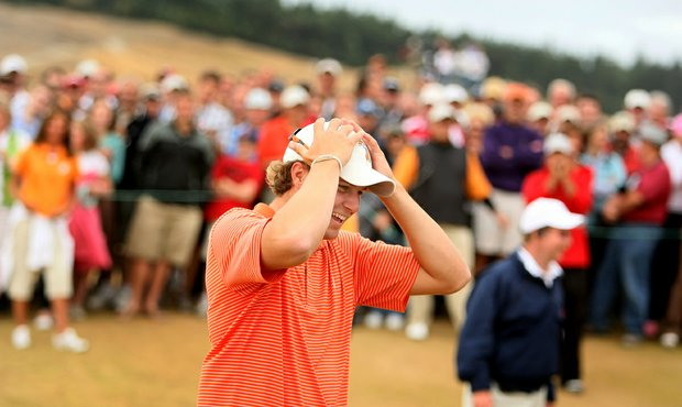 "Peter Uihlein reacts to the crowd singing ""Happy Birthday"" after he won 110th U.S. Amateur Championship at Chambers Bay in University Place, Wash."