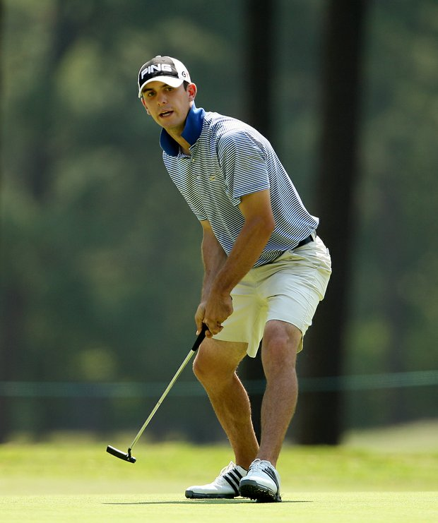 Billy Horschel reacts to his putt at the 17th green on Course No. 2 during the 2008 U. S. Men's Amateur.