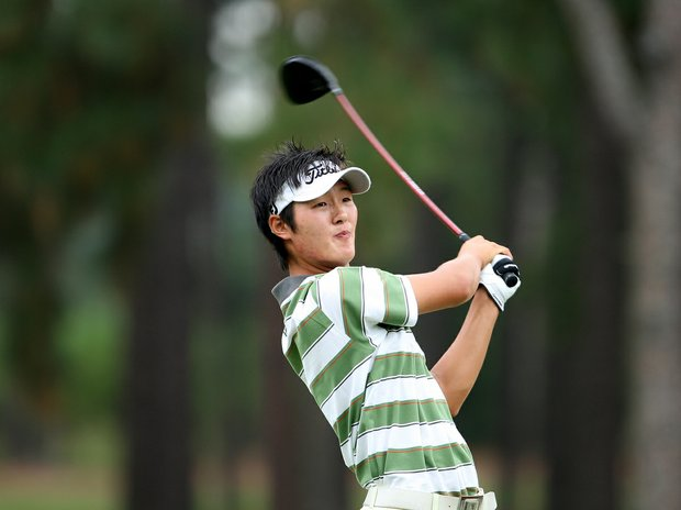 Danny Lee watches his tee shot at the 13th tee during round two of match play Thursday at the 2008 U. S. Amateur.