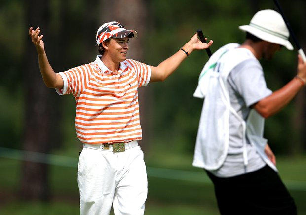 Rickie Fowler reacts to his birdie putt on the 10th hole during round three of match play against Adam Mitchell during Thursday's 2008 U.S. Amateur.