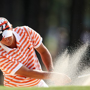 Rickie Fowler hits a bunker shot at the 12th hole during round three of the 2008 U. S. Amateur.