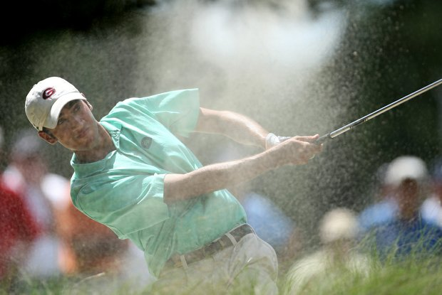 Adam Mitchell blasts out of a fairway bunker at the 16th hole during Saturday's semifinal match play at the 2008 U. S. Amateur.
