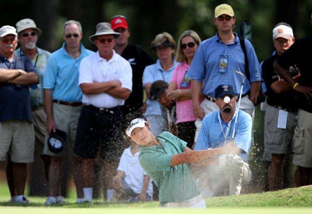 Danny Lee blasts out of the bunker at the 17th hole of the 36-hole final at the 2008 U. S. Amateur.