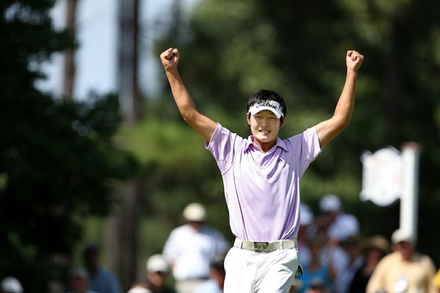 Danny Lee celebrates his win at the 32nd hole of Sunday's final match defeating Drew Kittleson 5&4 at the 2008 U.S. Amateur.