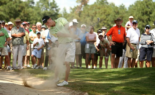 Drew Kittleson hits off a sandy cart path at the 2008 U.S. Amateur.
