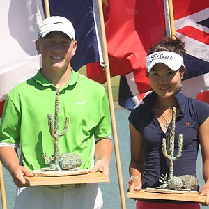 Brad Dalke and Karen Chung after winning the 2011 Thunderbird International Junior Championship. Both players return in 2013 for a chance to win the title once again.