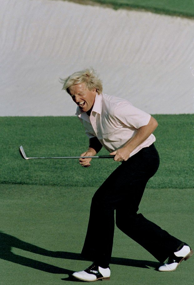 Greg Norman reacts to a missed birdie shot on the 18th during final round of the Masters in Augusta, Georgia, April 12, 1987. Norman lost to Larry Mize.