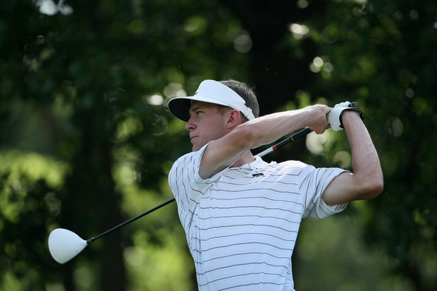 Iowa's Jed Dirksen during Tuesday stroke play at the 2011 NCAA Division I Men's Golf Championship at Karsten Creek in Stillwater, Oklahoma.