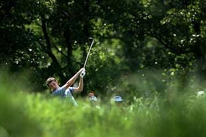 UCLA's Patrick Cantlay hits his tee shot at No. 18 during Tuesday stroke  play at the 2011 NCAA Division I Men's Golf Championship.