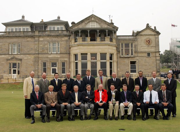 Former British Open Champions pose for photos in front of the clubhouse at St. Andrews, Scotland Tuesday July 12, 2005. Back row from left: Tom Lehman, Mark O'Meara, Ben Curtis, Sandy Lyle, Tony Jacklin, Ernie Els, Ian Baker-Finch, Mark Calcavecchia, Paul Lawrie, Tiger Woods, David Duval, Justin Leonard. Front row from left: Bob Charles, Greg Norman, Nick Faldo, Jack Nicklaus, Peter Thompson, Richard Carl-Hamilton the captain of the Royal and Ancient golf club, Todd Hamilton, Tom Watson, Gary Player, Seve Ballesteros and Nick Price.