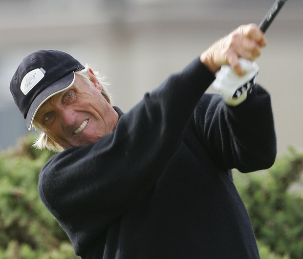 Australia's Greg Norman plays from the 2nd tee during the second round of the British Open golf championship on the Old Course at St. Andrews, Scotland Friday July 15, 2005.