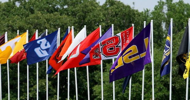 College flags during Wednesday stroke play at the 2011 NCAA Division I Men's Golf Championship.
