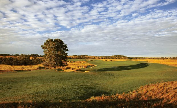 The 18th fairway on the Pines Course