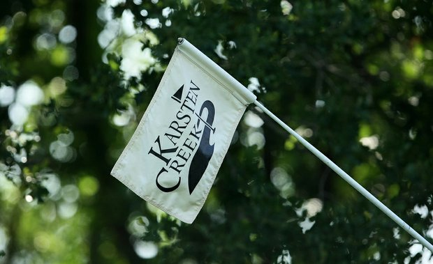 View of a flagstick at Karsten Creek during the 2011 Men's NCAA Championship.
