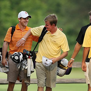 Illinois' Scott Langley, 2010 NCAA Individual Champion congratulates the John Peterson of LSU, the 2011 NCAA Individual Champion after Thursday stroke play.