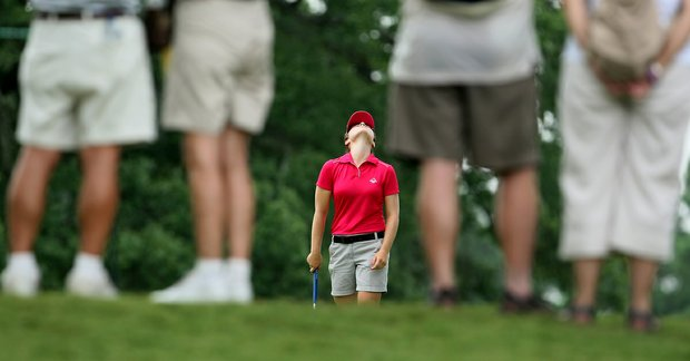 Candace Schepperle reacts to her putt at No. 8 during Thursday's Round of 32 at the 2010 Women's Amateur at Charlotte Country Club, August 10, 2010.