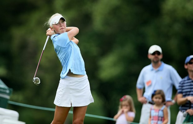 Jessica Korda hits her tee shot at No. 16 during the first 18 holes Sunday's finals at the 2010 Women's Amateur at Charlotte Country Club, August 15, 2010.