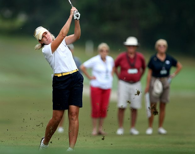 Martha Leach hits her shot at No. 3 during the 23rd U.S. Women's Mid Amateur Championship at Golden Hills Golf & Turf Club.