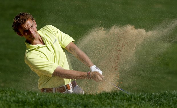 Joost Luiten, playing from a bunker during the 2010 Portugal Masters, succumbed to a different kind of hazard at the Memorial Tournament on Thursday in Dublin, Ohio.