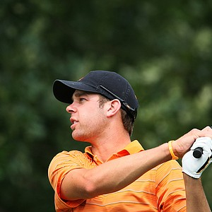 Oklahoma State's Kevin Tway hits a shot during the final round of stroke play at the NCAA Championship.