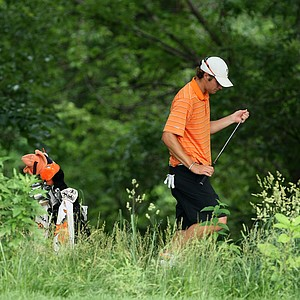 Oklahoma State's Peter Uihlein found the trees with his tee shot at No. 12 at Karsten Creek.