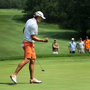 Oklahoma State's Peter Uihlein pumps his fist at No. 9 during Quarterfinals.