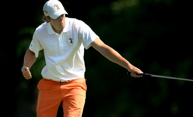 Oklahoma State's Peter Uihlein chips in at No. 13 during Quarterfinals. Oklahoma advanced to Semifinals on Saturday.
