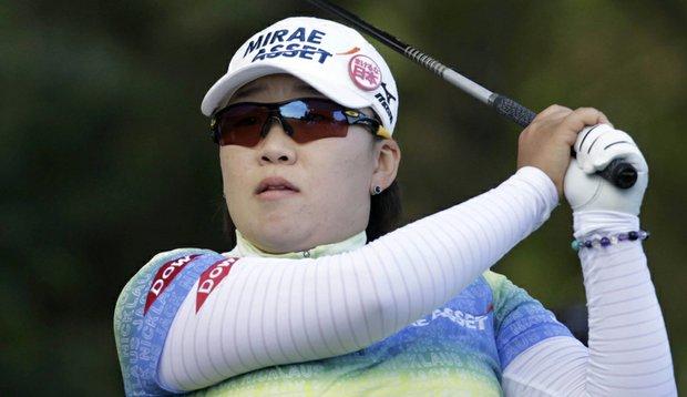Jiyai Shin hits a shot during the ShopRite LPGA Classic.