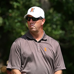 Illinois head coach Mike Small watches his team during match-play quarterfinals at the NCAA Championship.
