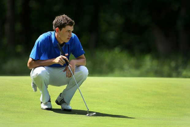 Patrick Cantlay eyes a putt during the first round of match play at the NCAA Championship.