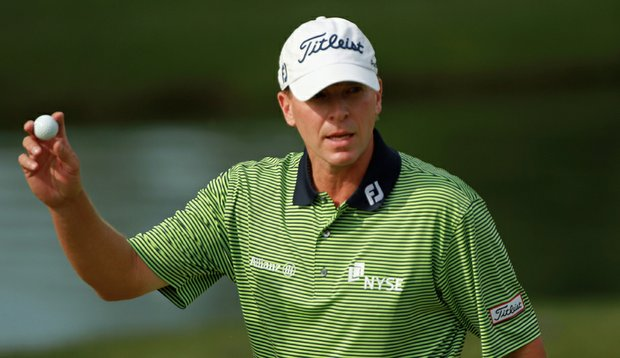 Steve Stricker aced the eighth hole and made birdie at the ninth during Round 2 of The Memorial at Muirfield Village Golf Club.