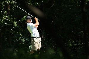 Georgia's Russell Henley hits hit tee shot at No. 3 during Semifinals of Saturday's Match Play at the 2011 NCAA Division I Men's Golf Championship at Karsten Creek in Stillwater, Oklahoma.
