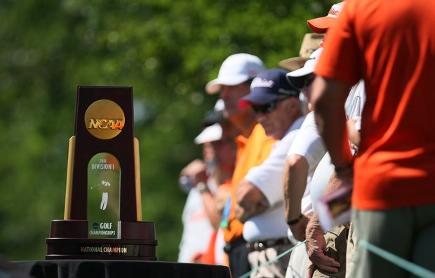 The NCAA Division 1 Golf Championship trophy at the first tee during Semifinals of Saturday's Match Play at the 2011 NCAA Division I Men's Golf Championship at Karsten Creek in Stillwater, Oklahoma.