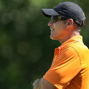 Oklahoma State head coach Mike McGraw during Semifinals of Saturday's Match Play at the 2011 NCAA Division I Men's Golf Championship at Karsten Creek in Stillwater, Oklahoma.
