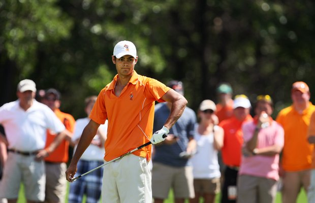 Oklahoma State's Sean Einhaus reacts to leaving his chip shot short on the playoff hole during the Semifinals. OSU lost to Augusta State.