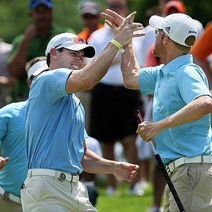 Augusta State's Carter Newman clinches the final point to beat Oklahoma State during Semifinals of Saturday's Match Play. Augusta State will take on Georgia in the final.