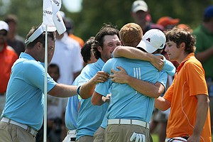Augusta State celebrates after defeating Oklahoma State during Semifinals of Saturday's Match Play.