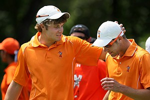 Oklahoma State University's Peter Uihlein and Kevin Tway after their loss to Augusta State in the Semifinals of Saturday's Match Play.