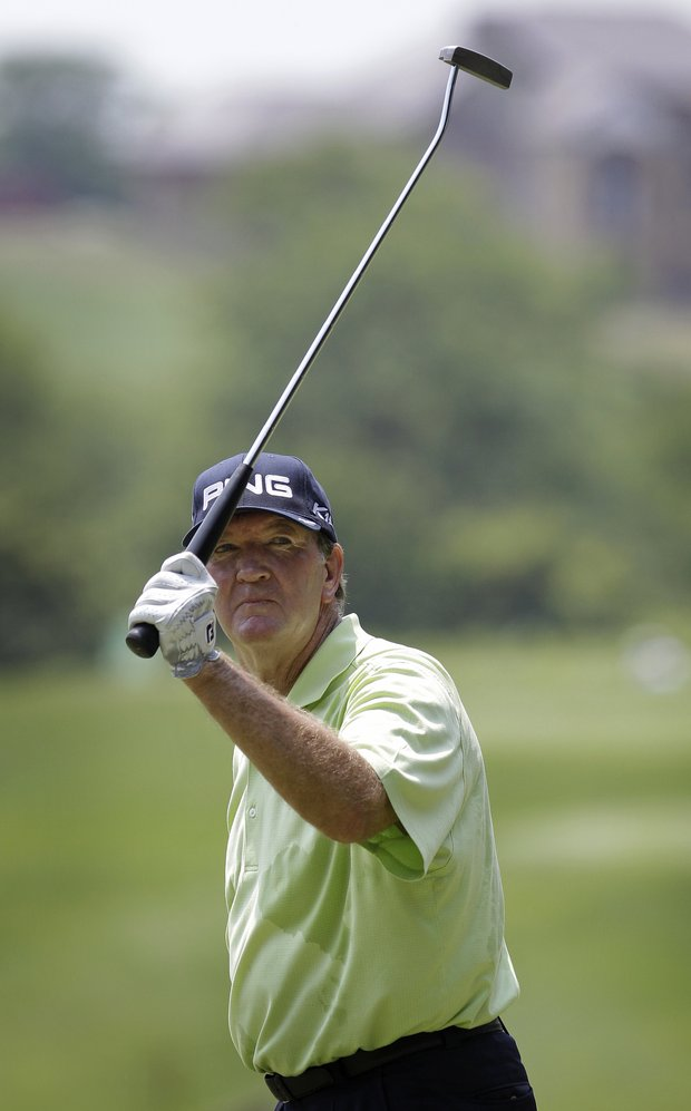 Bob Gilder reacts after making a birdie putt on the fifth green during the final round of the Champions Tour's Principal Charity Classic golf tournament, Sunday, June 5, 2011, in West Des Moines, Iowa.