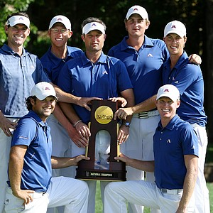 The Augusta State Jaguars successfully defended their national title at the 2011 NCAA Division I Men's Golf Championship at Karsten Creek in Stillwater, Oklahoma.