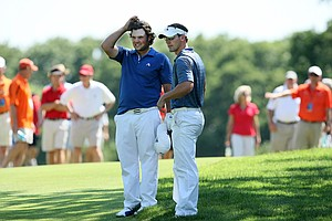 Acting assistant, Kevin McPherson, right, and Patrick Reed at No. 14 during the finals of Sunday's Match Play at the 2011 NCAA Division I Men's Golf Championship at Karsten Creek in Stillwater, Oklahoma. Reed would win his match, 2 and 1.