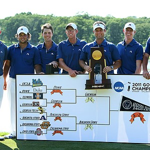 The Augusta State Jaguars are the 2011 NCAA Division I Champions at Karsten Creek in Stillwater, Oklahoma. Augusta State beat Georgia, 3-2, to win the title.