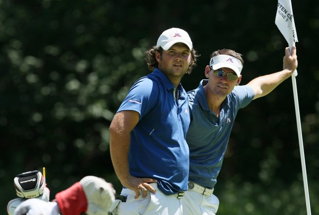 Augusta State's Patrick Reed with acting assistant coach Kevin McPherson during the finals of Sunday's Match Play at the 2011 NCAA Division I Men's Golf Championship at Karsten Creek in Stillwater, Oklahoma. Reed won his match over Harris English, 2 and 1.