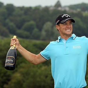 Alexander Noren of Sweden poses with the trophy after winning during the final round of the Saab Wales Open on the Twenty Ten course at The Celtic Manor Resort on June 5, 2011 in Newport, Wales.