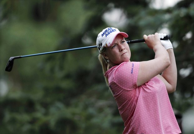 Brittany Lincicome watches her shot on the 12th hole during the second round of the LPGA ShopRite Classic golf tournament in Galloway Township, N.J., Saturday, June 4, 2011.