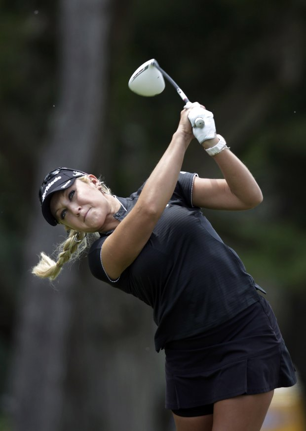 Natalie Gulbis hits a shot on the second hole during final round play at the LPGA ShopRite Classic golf tournament in Galloway Township, N.J., Sunday, June 5, 2011.