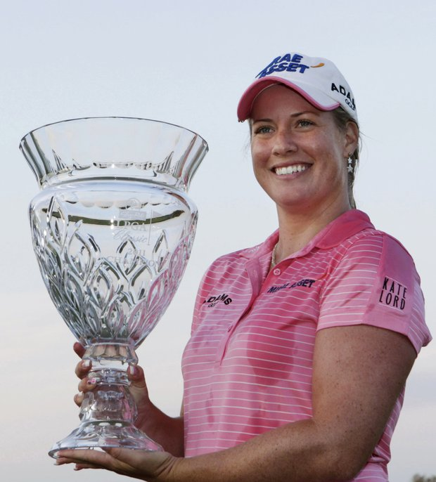 Brittany Lincicome holds the trophy after winning the LPGA ShopRite Classic golf tournament in Galloway Township, N.J., Sunday, June 5, 2011. Lincicome won with an 11-under, 202 total for her first win in two years.