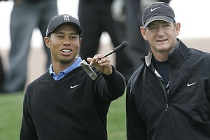 Hank Haney with Tiger Woods during a practice round for the 2007 Accenture Match Play.