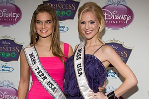 Miss Teen USA Stormi Henley and Miss USA Kristen Dalton arrive at the Disney Princess Royal Court Crowning Event in New York, Sunday, March 14, 2010.