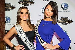 Miss Teen USA Stormi Bree Henley and Miss Universe Stefania Fernandez poses for a photo prior to a special screening of Golf Channel's new celebrity reality series, Donald J Trump's Fabulous World of Golf on March 31, 2010 at Trump Towers in New York, New York.